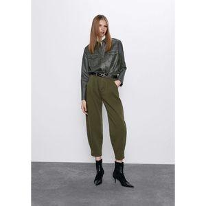 ZARA High Rise Slouchy Wide Leg Jeans Green Bloggers Favorite Size 4